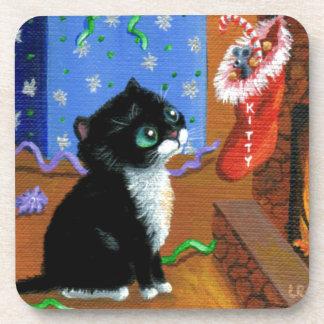Funny Cat Christmas Tuxedo Kitten Mouse Coaster