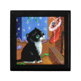Funny Cat Christmas Tuxedo Kitten Mouse Gift Box