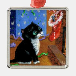 Funny Cat Christmas Tuxedo Kitten Mouse Metal Ornament