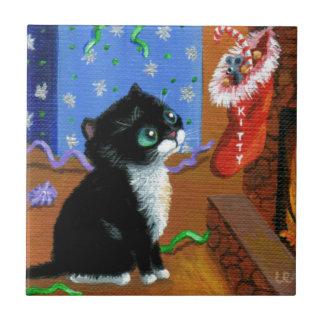 Funny Cat Christmas Tuxedo Kitten Mouse Tile