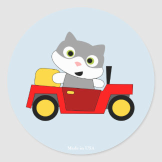 Funny Cat Design Round Sticker