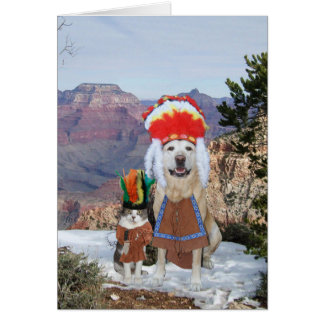 Funny Cat & Dog/Lab Chiefs Birthday Card