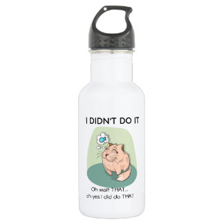 Funny Cat Drawing With Quotes Water Bottle