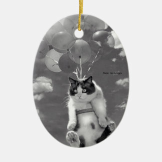 Funny cat flying with Balloons - Ceramic Ornament