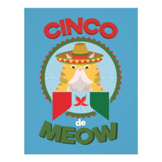 Funny Cat for Cinco de Mayo Mexican Holiday Letterhead