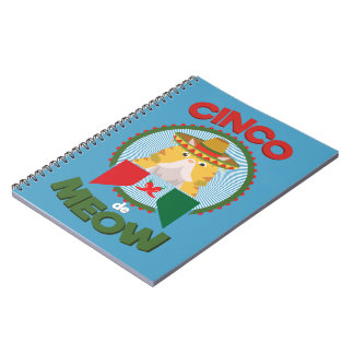 Funny Cat for Cinco de Mayo Mexican Holiday Notebooks