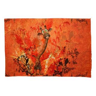 Funny cat giraffe pillowcase