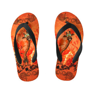 Funny cat giraffe with flowers kid's flip flops