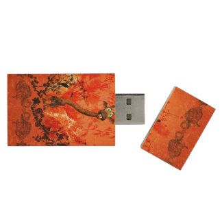 Funny cat giraffe with flowers on red background wood USB 2.0 flash drive