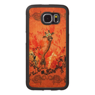 Funny cat giraffe with flowers wood phone case