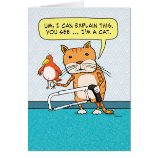 Funny Cat Hacksaw Explanation Birthday Card