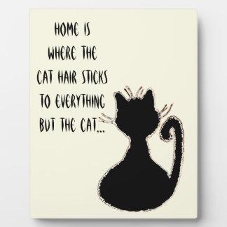 Funny Cat Hair Quote Cute Black Cat Silhouette Plaque