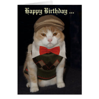 Funny Cat in Argyle Sweater Customizable Card