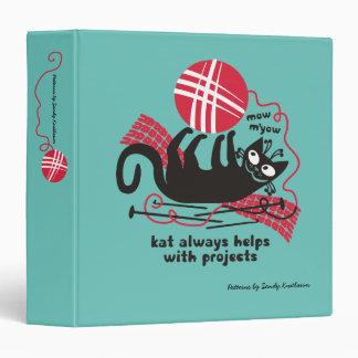 Funny cat knitting needles crochet hooks Christmas Vinyl Binder