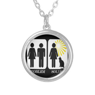 Funny Cat Lady Silver Plated Necklace