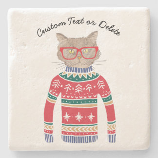 Funny Cat Lover Cat Wearing Ugly Christmas Sweater Stone Coaster