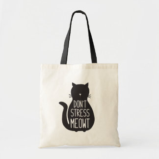 Funny Cat Lover's Don't Stress Meowt Tote Bag