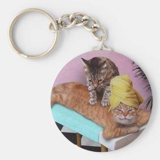 Funny Cat Massage Basic Round Button Keychain