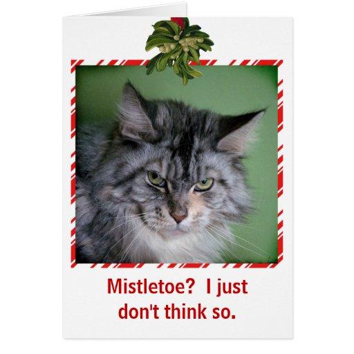 funny cat mistletoe christmas greeting card zazzle