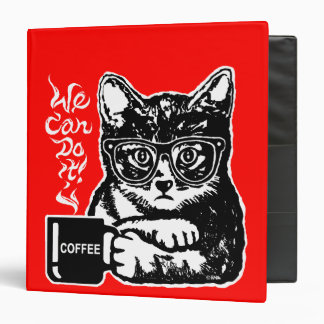 Funny cat motivated by coffee 3 ring binders