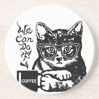 Funny cat motivated by coffee coaster