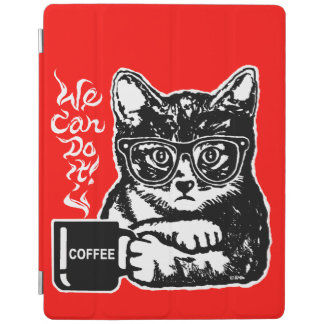 Funny cat motivated by coffee iPad cover
