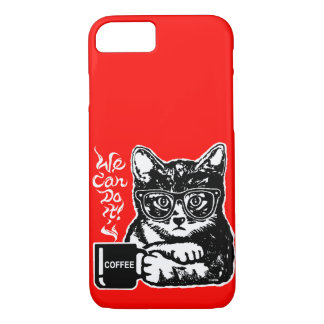 Funny cat motivated by coffee iPhone 8/7 case