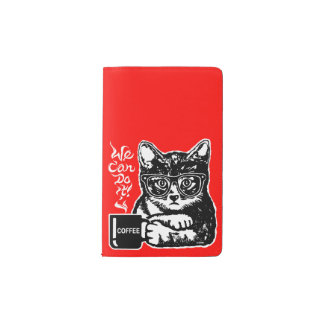 Funny cat motivated by coffee pocket moleskine notebook