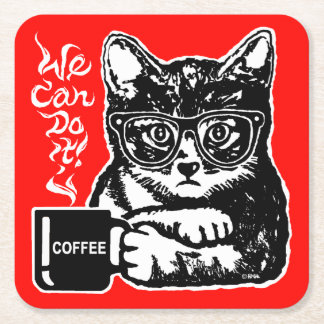 Funny cat motivated by coffee square paper coaster