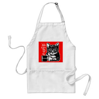 Funny cat motivated by coffee standard apron