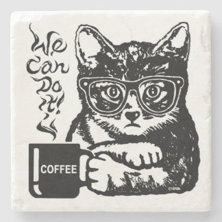 Funny cat motivated by coffee stone coaster