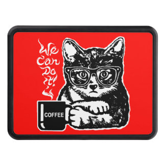 Funny cat motivated by coffee trailer hitch cover