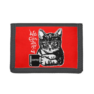 Funny cat motivated by coffee tri-fold wallet