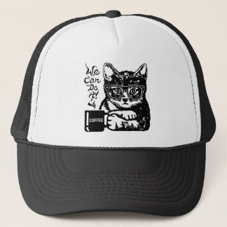 Funny cat motivated by coffee trucker hat