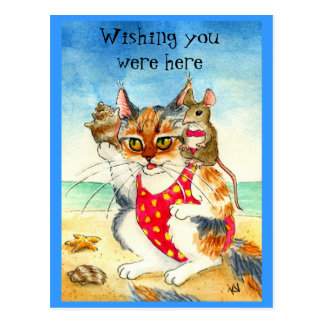 Funny Cat & Mouse Beach Vacation postcard