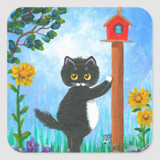 Funny Cat mouse bird Cartoon Creationarts Square Sticker