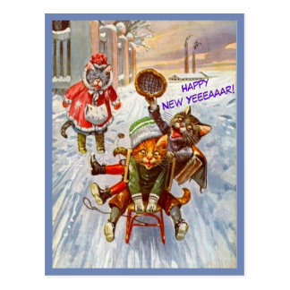 Funny Cat New Year Postcard Vintage Cats on Sled