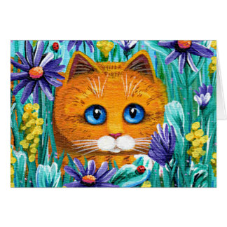 Funny Cat Orange Tabby Asters Creationarts Card