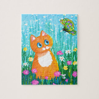Funny Cat Orange Tabby Butterfly Summer Jigsaw Puzzle