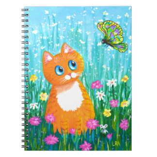 Funny Cat Orange Tabby Butterfly Summer Spiral Notebook