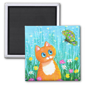 Funny Cat Orange Tabby Butterfly Summer Square Magnet