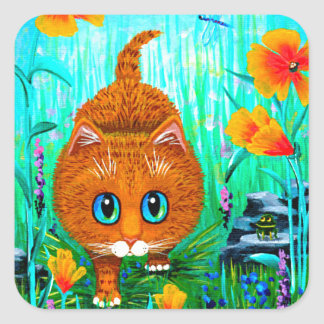 Funny Cat Orange Tabby Cartoon Creationarts Square Sticker