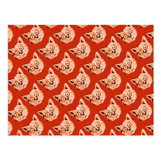funny cat patterning postcard