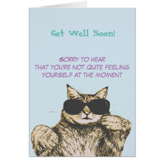 Funny Cat Picture Get Well Card