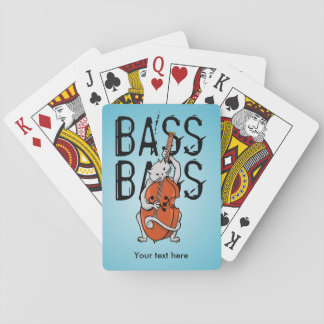 Funny Cat Playing a Double Bass Playing Cards