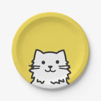 Funny cat portrait paper plate
