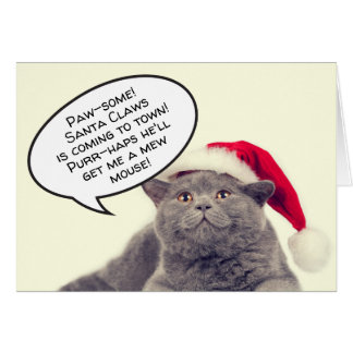 Funny cat pun Christmas Xmas customizable Card
