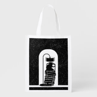 Funny Cat Reading Shakespeare Plays Reusable Grocery Bag