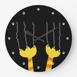 Funny Cat Scratch Whimsical Black Cat Lovers Wall Clocks