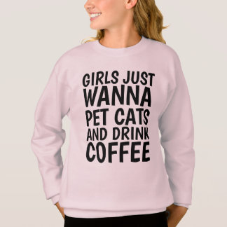 Funny Cat T-shirts for Girls, COFFEE & CATS